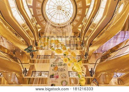 HANOI VIETNAM - MARCH 08 2017. The interior of a luxury shopping mall Trang Tien Plaza Grand french colonial art nouveau style. Hanoi Vietnam