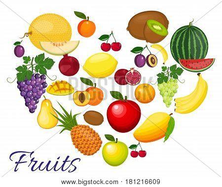 Fresh organic food. Set of vegetarian food . Vector vegetarian organic healthy food cuisine. organic natural realistic fruits. Veggie Lover Elements