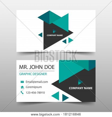 Green triangle corporate business card name card template horizontal simple clean layout design template Business banner template for website