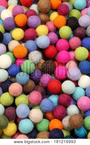 Colorful Small Balls Made Of Felt