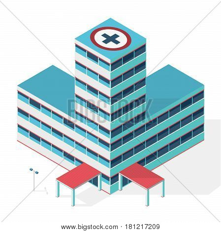 Medical isometric building. Hospital building. Isometric building. Outline hospital. Illustration of scientific article. Blog presentation. Pharmacy pictogram. Clinic chemistry. Isolated master vector