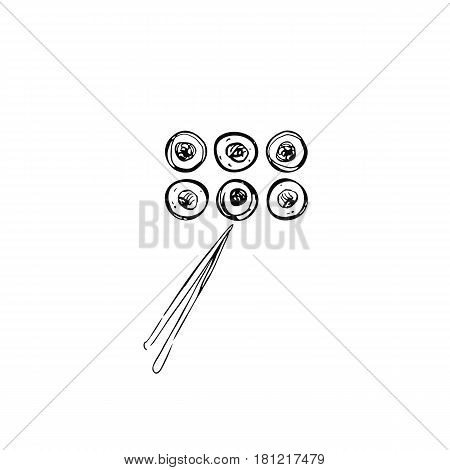Rolls with chopsticks. Vector illustration.Doodle art. Freehand outline ink hand drawn picture object sketch.