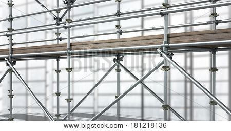 Digital composite of 3D scaffolding in diagonal