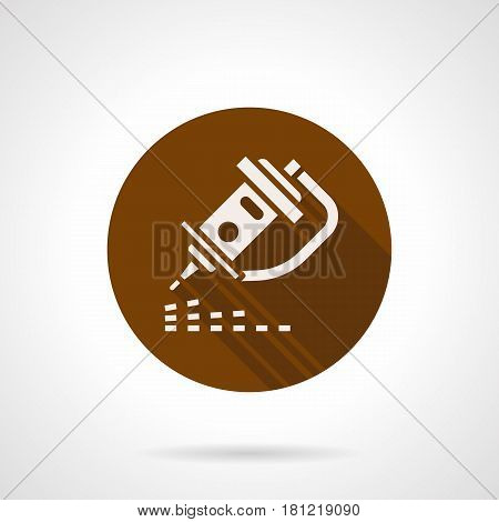 Abstract white silhouette of nozzle of engraving laser machine. Modern industrial technology symbol. Round flat design brown vector icon, long shadow.