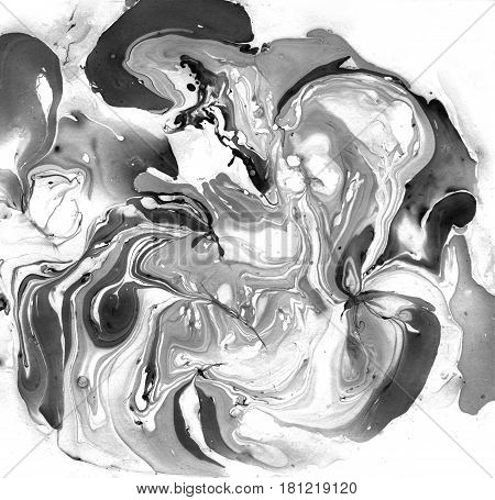Marbled Black and White Abstract Background. Liquid Marble Illistration. Abstract background. Ink marble texture. Unusual design.