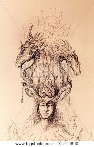 Man in mystic fire and ornamental dragons, pencil sketch on paper