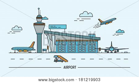 Airport, aircraft. Lineart colorful vector illustration with air terminal and airplanes