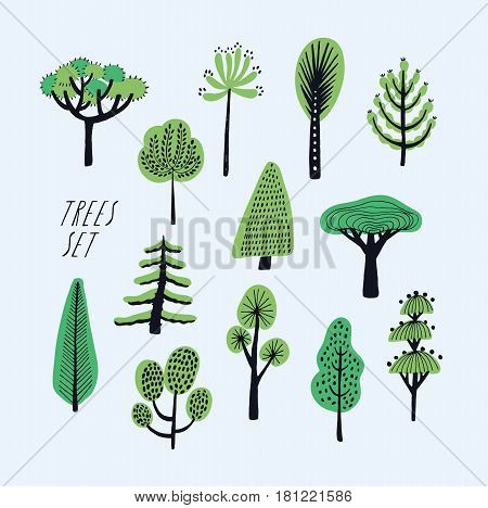 Set of cartoon doodle trees. Beautiful hand drawn childish, primitive style illustration collection