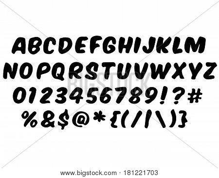 Handwritten style modern font. Vector Alphabet isolated