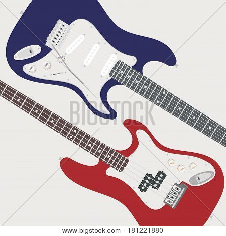 Blue electric guitars and red bass isolated on white background.