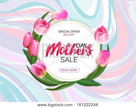 Mother's day sale offer banner template. Round frame with lettering on marble background. Feminine sale tag. Shop market poster design. Vector illustration. Elegant luxury design.