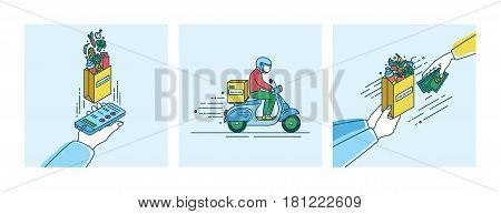 Food delivery concept, Lineart Illustration set in flat style.