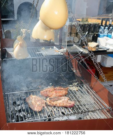Stall Southern Italy With Baked Cheese Over The Hot Coals Alfres