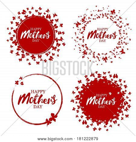 Happy mother's day stamp with butterflies. Red round grunge vintage mother's day sign. Vector