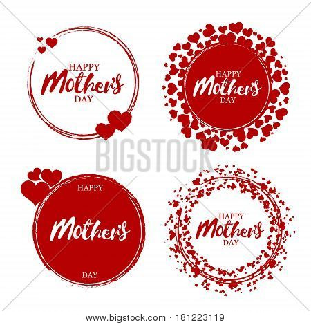 Happy mother's day stamp with hearts. Red round grunge vintage mother's day sign. Vector