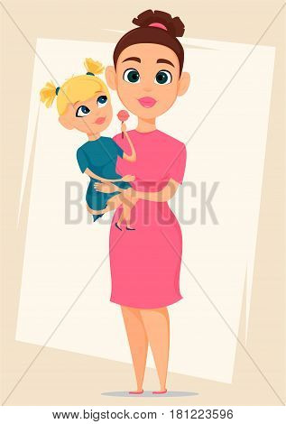 Happy mother's day greeting card. Mother holding her daughter. Best mom mum ever cute. Daughter with tasty candy. Mother Love Children - stock vector