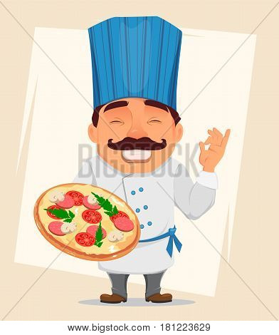 Chef Cook holding tasty pizza. Cute cartoon character smiling cook in professional uniform and blue hat. Stock vector