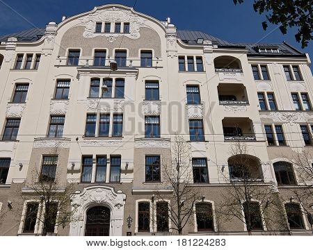 Riga, Elizabetes street 22, Art Nouveau National Romanticism, elements of the facade
