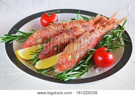 Grilled red mullet in a plate with herbs, tomato and lemon. Healthy food. Mediterannean lifestyle.