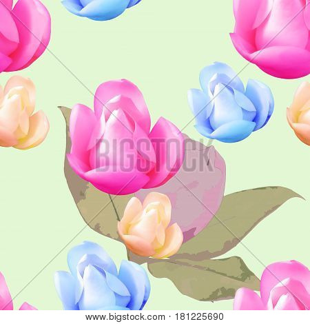 Magnolia. Texture of flowers. Seamless pattern for continuous replicate. Floral background photo collage fo