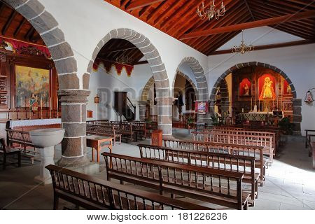 CHIPUDE, LA GOMERA, SPAIN - MARCH 24, 2017: The interior of the church of Chipude (la Iglesia de la Virgen de la Candelaria)