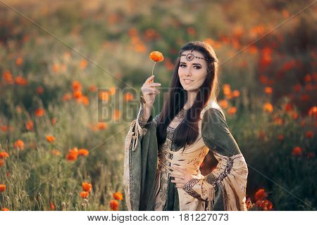 Medieval Princess in a Field of Poppies - Beautiful queen in spring field of flowers