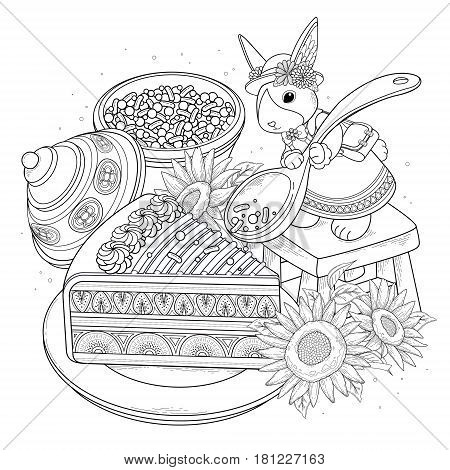 Pastries Adult Coloring Page
