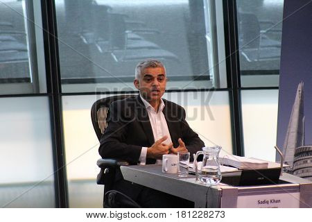 London, October 2017. Sadiq Khan, the Mayor of London, appears before the London Assembly in the chamber of City Hall, on the banks of the River Thames