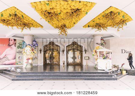 HANOI VIETNAM - MARCH 08 2017. Art nouveau door Grand french colonial art nouveau style door. Hanoi Vietnam