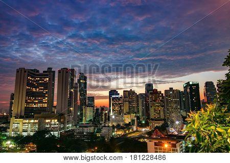 BANGKOK THAILAND - NOVEMBER 5 2016: High view of Bencha siri park and building at Bangkok Thailand