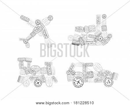 A lot of black immigration stamps arranged in car plane ship and train shape isolated on white