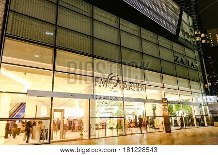 Bangkok, Thailand - November 5, 2016: The Quatier Cineart Shopping Mall, Bangkok Skylines On Sukhumv