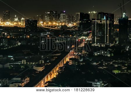 High angle view of city scape at night