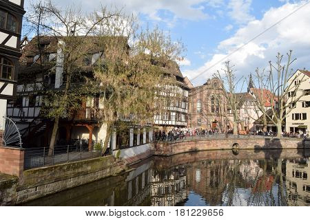 March 28 2017-Strasbourg-Alsace-France-A view of the typical ancient village called