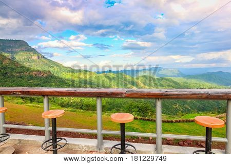 Closeup Relaxing Chair With Beautiful Mountain View At Kao Kor, Thailand