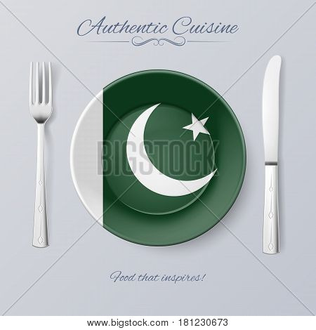 Authentic Cuisine of Pakistan. Plate with Pakistani Flag and Cutlery