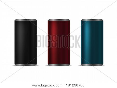 Colorful aluminum drink cans over white background