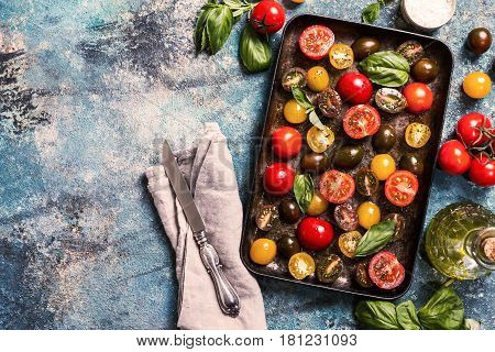 Trays of fresh different color cherry tomatoes ready to sun-dried top view