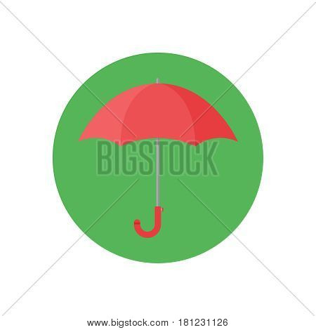 Umbrella on white background vector concept. Rain illustration in modern flat style. Color picture for design web site, web banner, printed material. Umbrella icon.