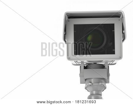 White Cctv Camera Or Security Camera Isolated On White