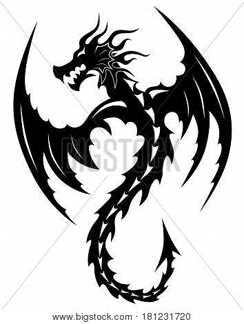 Tattoo tribal dragon. Tribal tattoos. Art tribal tattoo. Vector sketch of a tattoo.