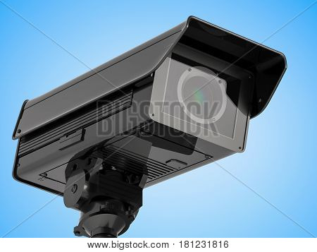 Cctv Camera Or Security Camera On Blue Background