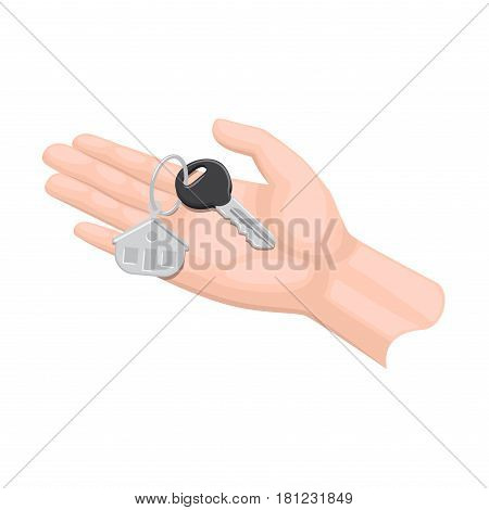 Human arm lends house key with trinket on white background. Cartoon arm presents keys from apartment, house or hotel room to someone. Real estate deal isolated vector in flat design