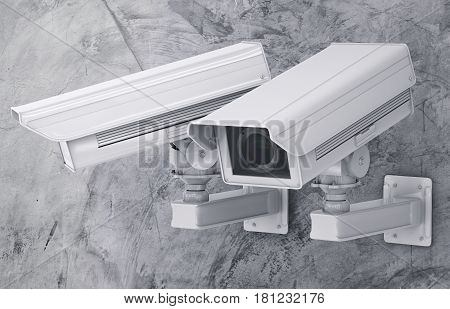 Cctv Camera Or Security Camera On Cement Background