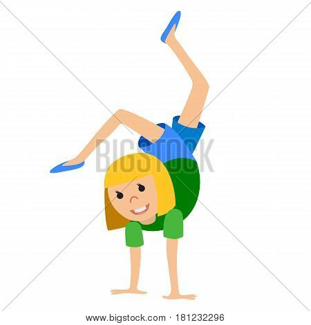Girl dancing in class, vector illustration isolated on whote background