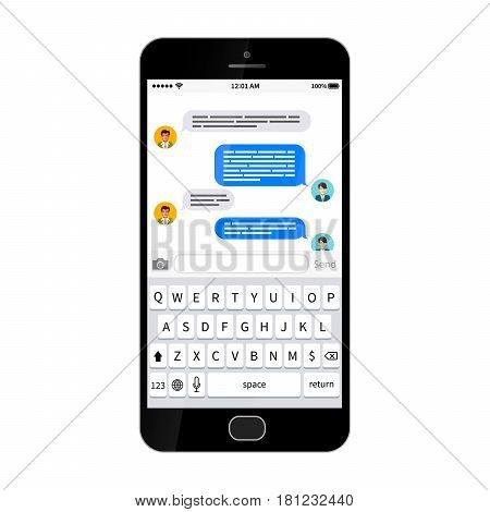 Black glossy smartphone with sms texting dialog, isolated on white