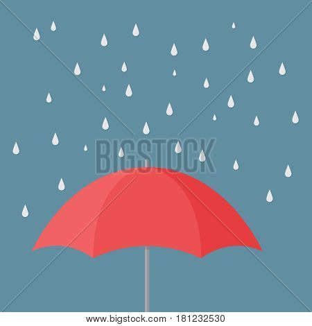 Umbrella on gren background vector concept. Rain illustration in modern flat style. Color picture for design web site, web banner, printed material. Umbrella icon.