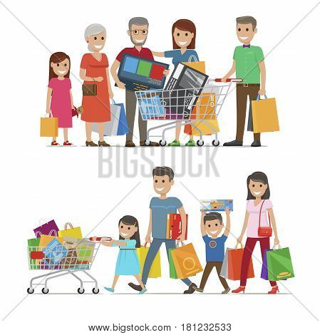 Families shopping concept vector illustration on white. Members of two families doing shopping and holding big packages with bought goods. Relatives spending time together and buying things.