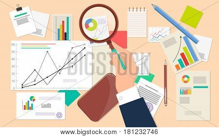 Business analyst, financial data analysis on beige background. Vector illustration of businessman with magnifying glass is looking financial reports. Many paper sheets with charts and diagrams on desk
