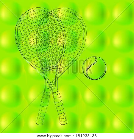Vector illustration of tennis ball pattern, background, texture with two rackets. Hand drawn, sketch. drawing sport. Abstract green, spring and space field. Activity sport. 3d balls.